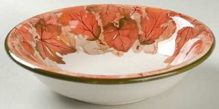 Montgomery Ward Harvest Coupe Soup Bowl, Fine China Dinnerware   Rust Leaves,Gre
