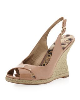 Arianna Patent Leather Raffia Wedge Slingback, Blush