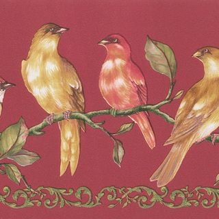 Brewster Red Birds Border Wallpaper (15 Feet) (RedDimensions: 6.75 inches tall x 15 feet lengthTheme: FloralsMaterials: Non woven solid sheet vinylIncludes one (1) sheetCare instructions: ScrubbableHanging instructions: Pre pastedModel: 499 06912 )