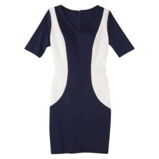 Merona Womens Ponte V Neck Color Block Dress   Navy/Sour Cream   XL