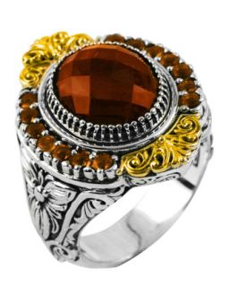 Sterling Silver Round Cut Cognac & Citrine Ring with 18 Karat Gold,