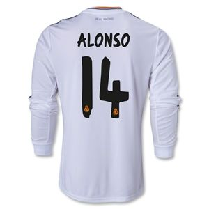hidden Real Madrid 13/14 ALONSO LS Home Soccer Jersey
