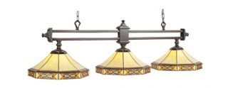 Mission Filigree Stained Glass Pool Table Light