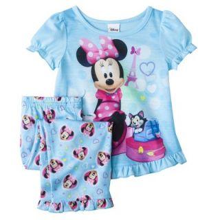 Disney Minnie Mouse Toddler Girls 2 Piece Short Sleeve Pajama Set   Aqua 3T