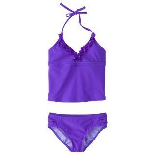 Girls 2 Piece Halter Tankini Swimsuit Set   Purple XL