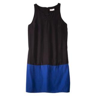Merona Womens Colorblock Hem Shift Dress   Black/Waterloo Blue   XXL