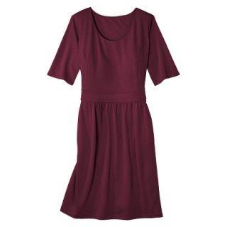 Merona Womens Plus Size Elbow Sleeve Ponte Dress   Berry 2