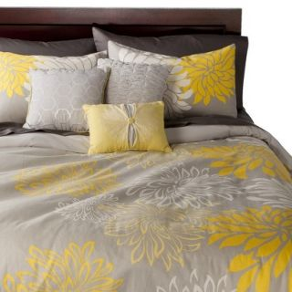 Anya 6 Piece Floral Print Duvet Cover Set   Gray/Yellow (King)