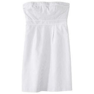 Merona Womens Seersucker Strapless Dress   Grey/White   6