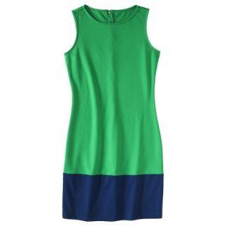 Merona Womens Ponte Color Block Hem Dress   Green/Blue   XS