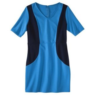 Merona Petites V Neck Colorblock Ponte Dress   Blue/Navy XXLP
