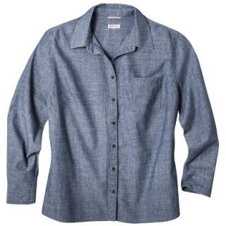 Merona Womens Plus Size Long Sleeve Chambray Shirt   Blue 1