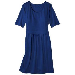 Merona Womens Plus Size Elbow Sleeve Ponte Dress   Blue 1
