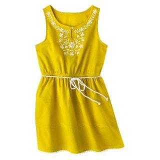 Girls Sleeveless Embellished Front Shirt Dress   Vintage Yellow XL
