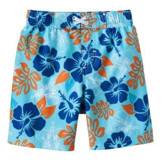 Circo Infant Toddler Boys Hawaiian Flower Swim Trunk   Pastel Blue 12 M