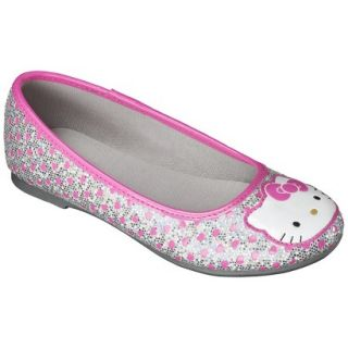 Girls Hello Kitty Ballet Flat   Silver 5