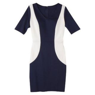 Merona Womens Ponte V Neck Color Block Dress   Navy/Sour Cream   XS