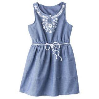 Girls Sleeveless Embellished Front Shirt Dress   Chambray M