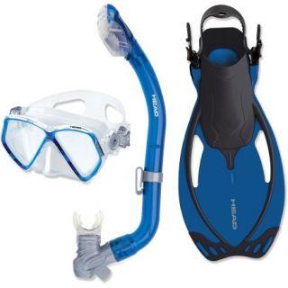 Head Head Pirate Mask, Snorkel and Fins Set  Kids,  Blue,  L/XL