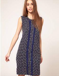 Vestido de corte recto con bouclé colour block de en