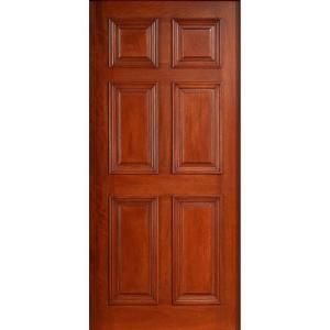 Main Door Solid Mahogany Type Prefinished Cherry 6 Panel Entry Door Slab SH 600 CH