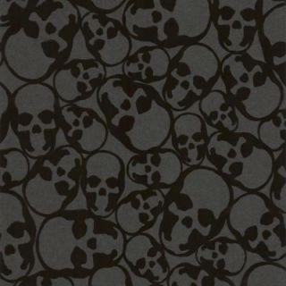 Graham & Brown 56 sq. ft. Skulls Black Wallpaper 19911