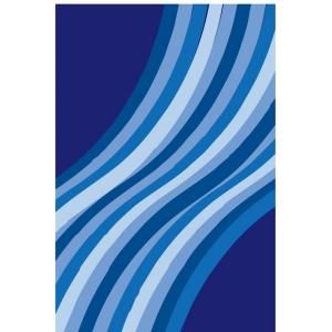 LA Rug Inc. Fun Time Wacky Blue Wave Multi Colored 19 in. x 29 in. Area Rug FT 107 1929
