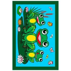 LA Rug Inc. Fun Time Frogs Multi Colored 19 in. x 29 in. Area Rug FT 116 1929