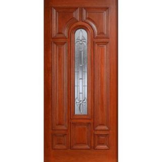 Main Door Mahogany Type Prefinished Cherry Beveled Zinc Arch Glass Solid Wood Entry Door Slab SH 555 CH BZ