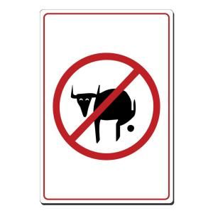 Lynch Sign 9 in. x 12 in. Black and Red on White Plastic No Bull Pooh Picture Only Sign J 38