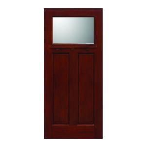 Main Door Craftsman Collection 1 Lite Prefinished Cherry Solid Mahogany Type Wood Slab Entry Door SH 700 CH