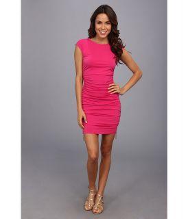 MICHAEL Michael Kors Cap Sleeve Ruched Dress Womens Dress (Pink)