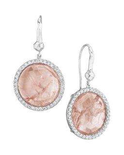 Pink Gray Sapphire & Diamond Dangle Earrings