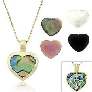 Gold Tone over Sterling Silver Pink, Gray, & White Mother of Pearl, Onyx, & Abalone 5 Stone Heart Filigree Reversible Pendant Set: Jewelry