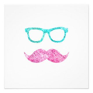 Funny Glitter Pink mustache teal hipster glasses Personalized Invitation
