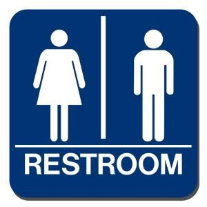 Lynch Sign 8 in. x 8 in. Blue Plastic with Braille Restroom Sign UNI 18