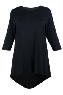 Curvylicious Women's Plus Size Dipped Hem 3/4 Sleeve Tunic Top 28/30 Black