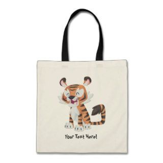 Happy Cartoon Tiger Tote Bags