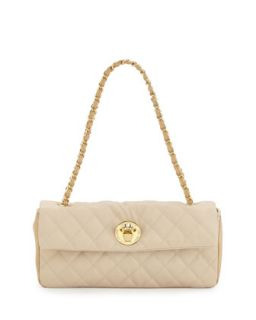 Borsa Quilted Faux Leather Crossbody Bag, Ivory/Beige