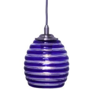 Hampton Bay 1 Light Ceiling Blue Swirl Glass Pendant 25380 71