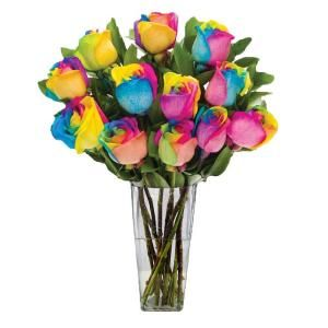 The Ultimate Bouquet Gorgeous Rainbow Rose Bouquet in Clear Vase (12 Stem), Overnight Shipping Included RB348