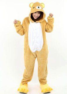 Strampler Winter tierkostüme Unisex Halloween Bär Kostüm Kigurumi Tier Pyjama Jumpsuit Schlafanzug Erwachsene (M(für Höhe 161 169cm)): Sport & Freizeit
