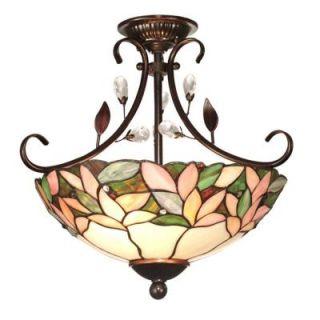 Dale Tiffany Crystal Leaf 2 Light Antique Bronze Semi Flush Mount FTS10001