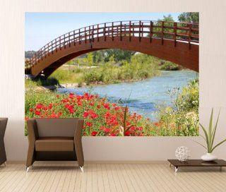 WM175   Rote Mohnblumen, Wiese Fluss in Valencia Fototapete. Selbstklebender Tapete. Peel und Stick Wandbild Fototapete Art Fever TM UK Baumarkt