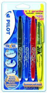 Pilot 2260B4   Frixion Tintenroller Ball mit einen Textmarker Promotion 4 Stück schwarz, rot, blau und ein gelber Frixion Light gratis: Bürobedarf & Schreibwaren