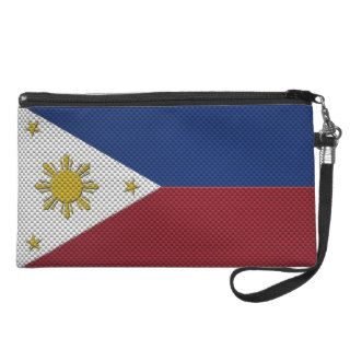 Flag of The Philippines with Carbon Fiber Effect Wristlet Purses