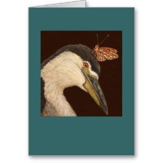 Black crowned night heron card