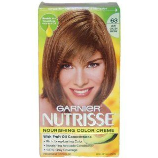 Garnier Nutrisse, Nourishing Color Creme with Triple Fruit Oil, (63) Light Golden Brown Hair Color  Chemical Hair Dyes  Beauty