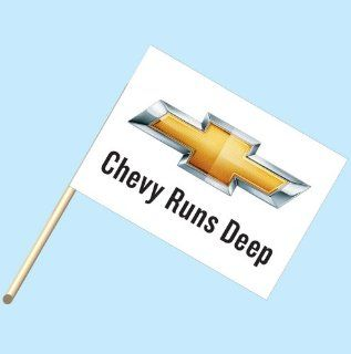 """""""Chevy Runs Deep Logo""""   NEOPlex 30"""" x 42"""" Car Lot Flag Mounted on 4' Wooden Staff/Pole : Office Supplies : Office Products"""