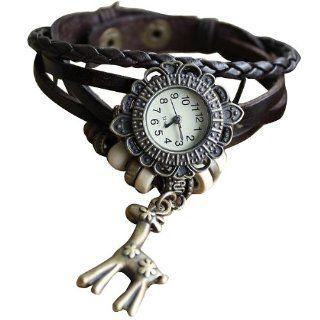 Crazycity Retro Three Flowers Sika Deer Design Leather Watch Men Wristwatch Fashion Watches Bracelet Wristband Wrist Watch for Girls Ladies Couple(Brown) Watches